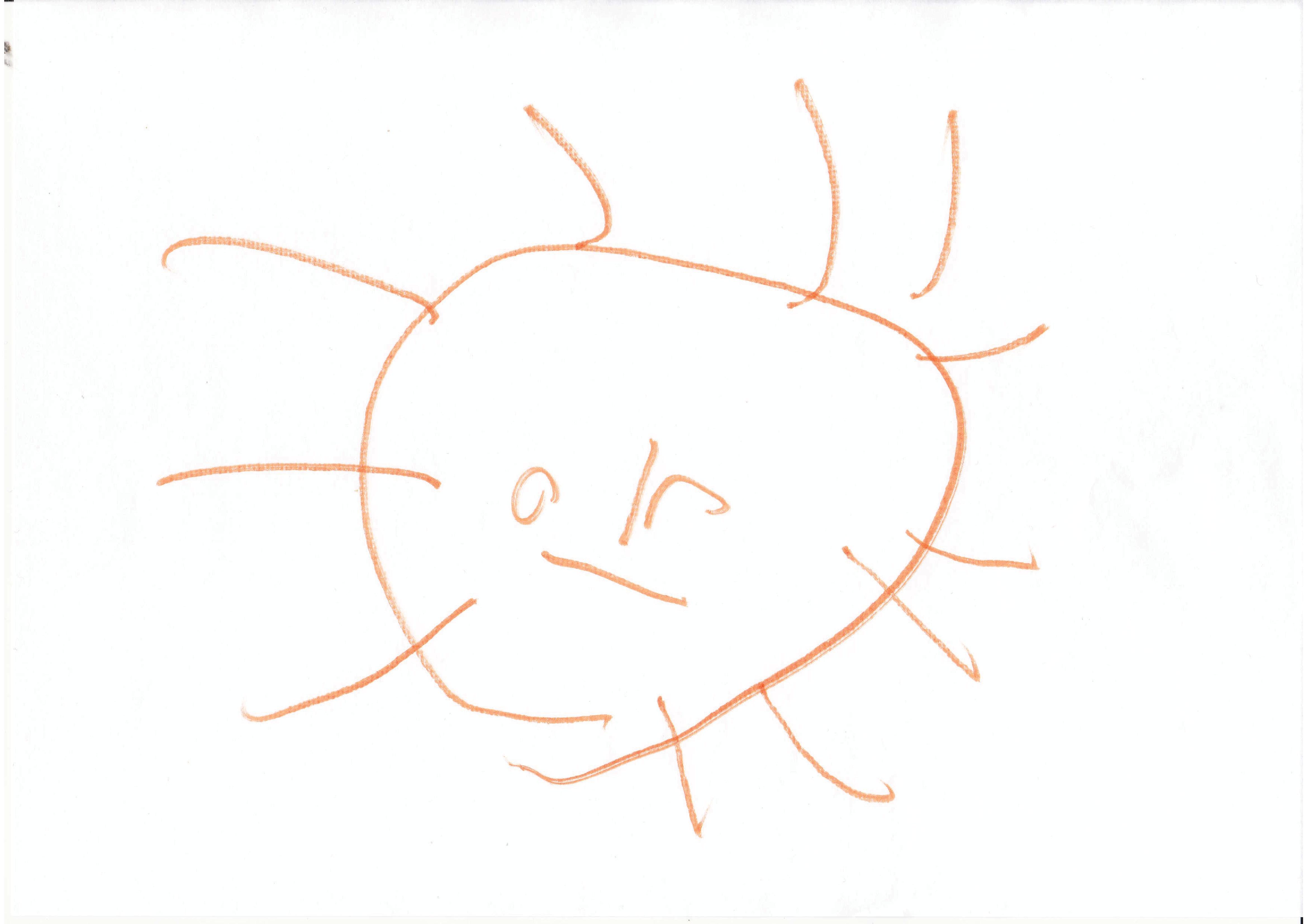 Kinderzeichnung einer Sonne vom Sohn von Hartmut Haker