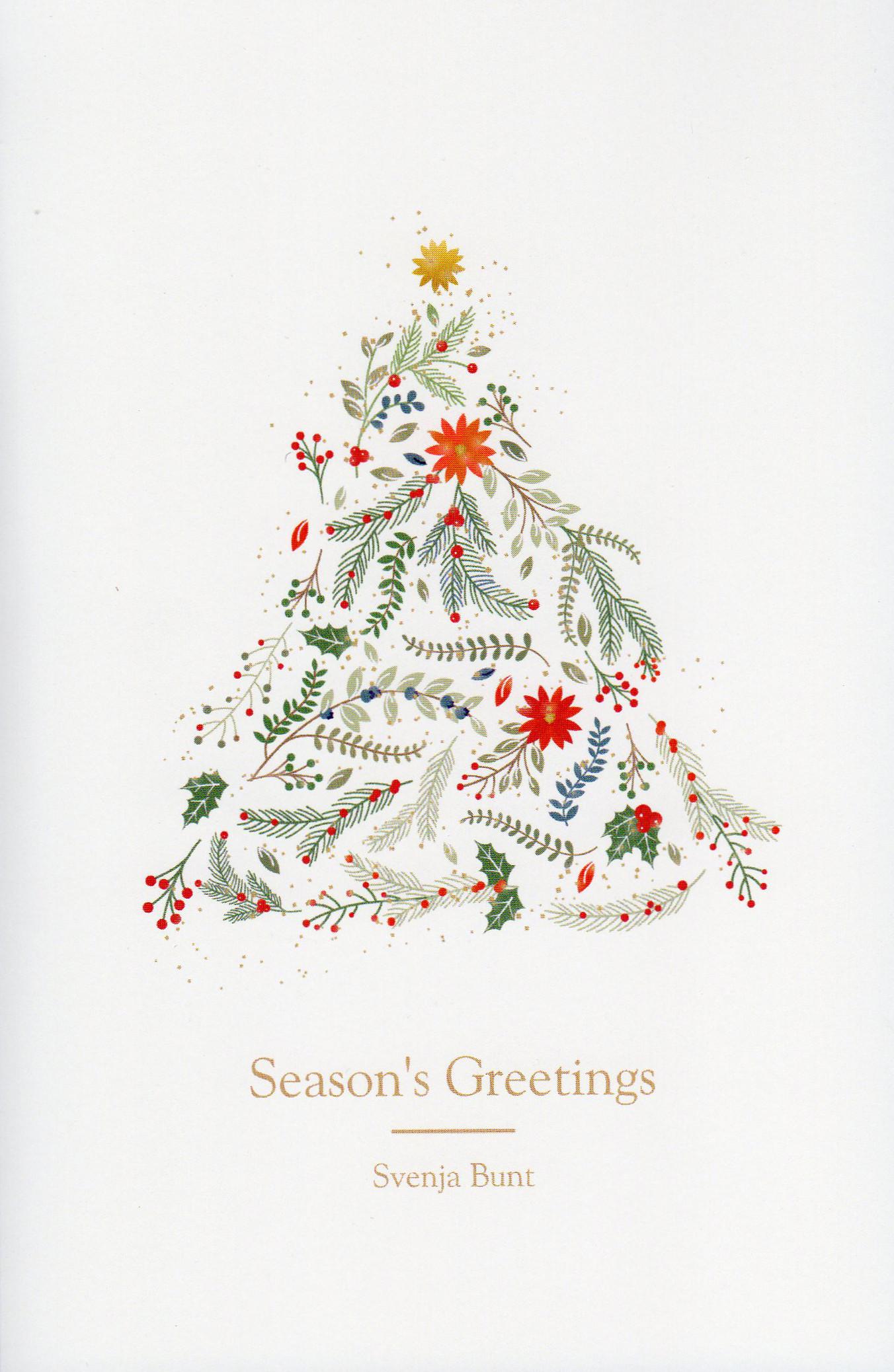 Weihnachtskarte. Weihnachtsbaum mit Schriftzug: Seasons's Greetings Svenja Bunt.