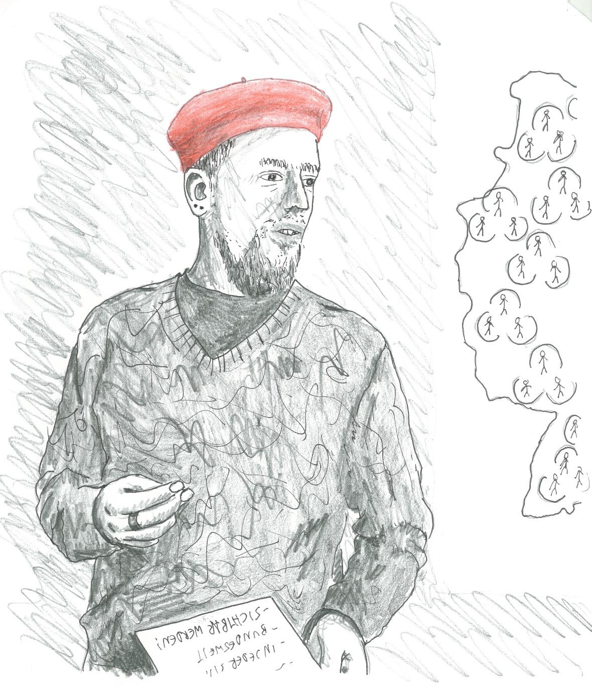 Selbstporträt Julian Kurzidim, Zeichnung, Mann mit roter Mütze
